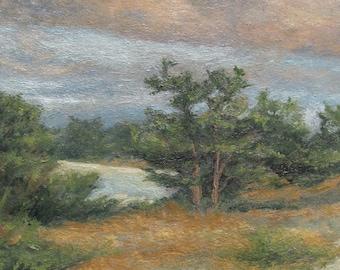 Cape Cod Landscape,Tonalist Landscape ,Oil on Panel,Contemporary Landscape,Impressionist Landscape,Sand Dunes,Summer Colors,2011-0121