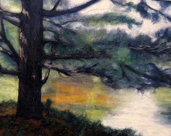 Original Oil Painting,Landscape Painting,Adirondacks,Contemporary Landscape,Pond,Pine Tree,Reflection,Nature Art,Summer Colors,2006-0111