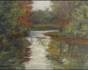Landscape Painting,Tonalism,Oil on Panel,Tonalist Landscape,Impressionist Landscape,Hudson Valley,Nature Art,Water, Stream,2012-0113