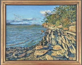Hudson River,Hudson Valley Landscape,Golden Hour,Framed,Impressionism,Impressionist Landscape,Inspired by Nature,Gregory Arnett,2021-0115