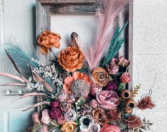 Floral Frame, Flower Frame, Garden Wall Hanging, Floral Wall Hanging, Nursery Floral Frame, Foyer Wall Art, Modern Floral Design Wall Art