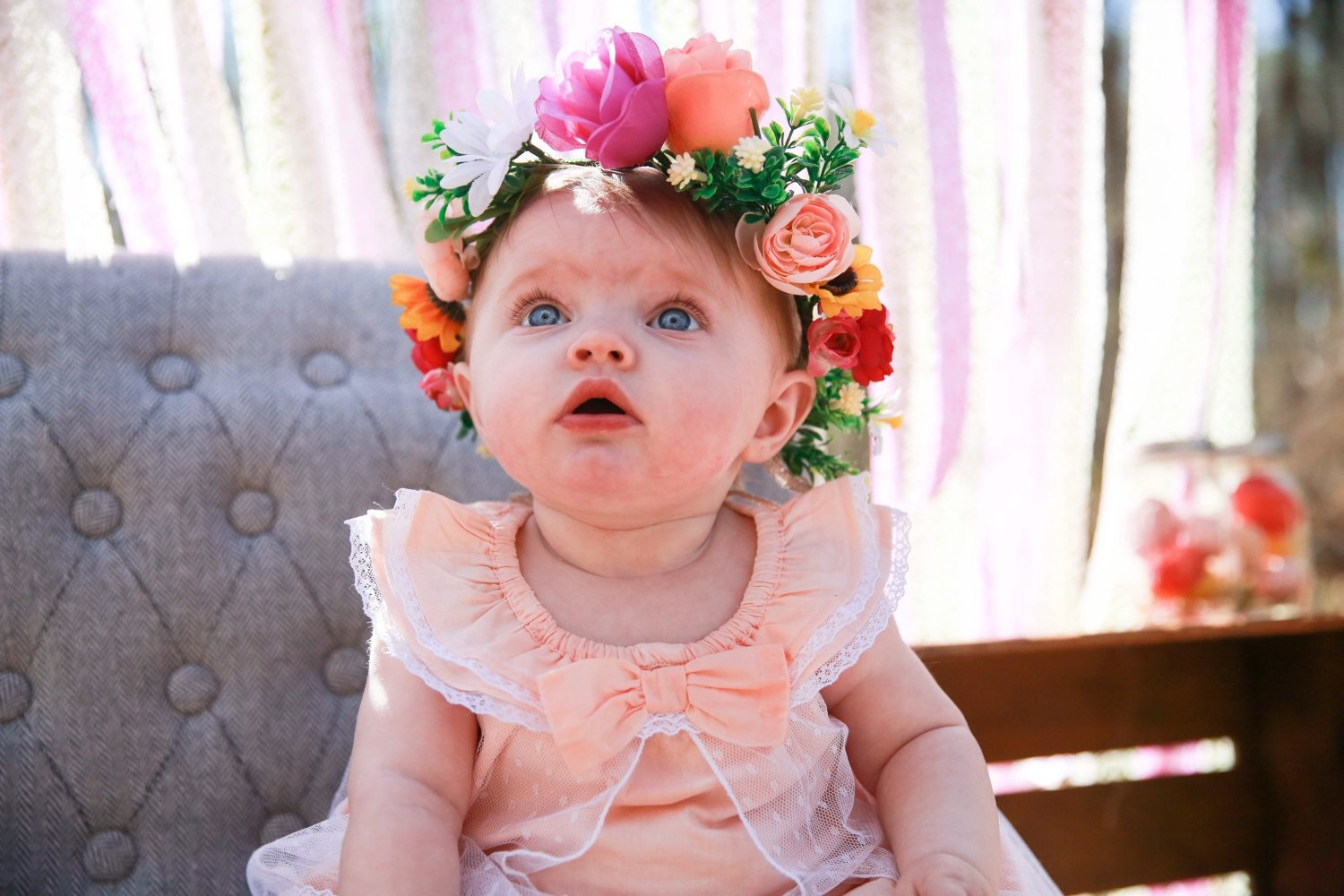 Kids Flower Crown Little Girls Crown Colorful Baby Crown Etsy