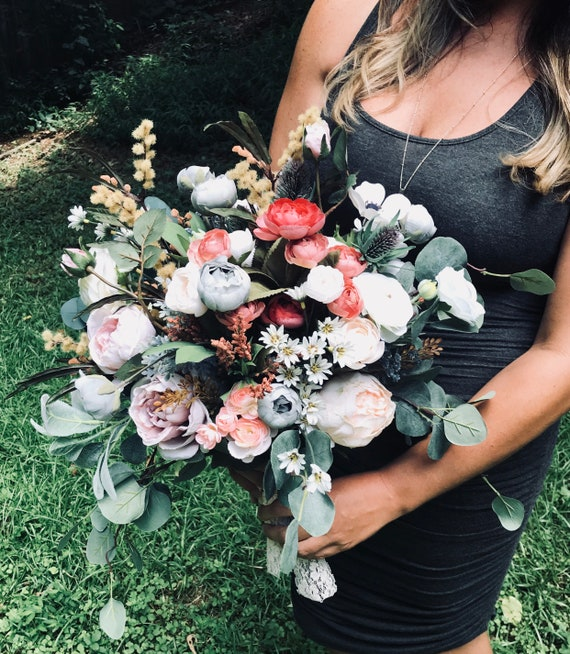 Boho Bouquet, Wedding Bouquet, Rustic Bouquet, Wildflower Bouquet, Eucalyptus Bouquet, Bohemian Bridal Bouquet, Large Bouquet, Fall Bouquet