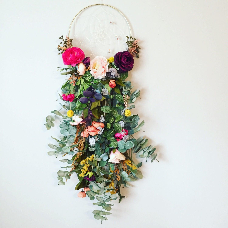 Floral Dream Catcher Dream Catcher Dream Catcher Wall Etsy