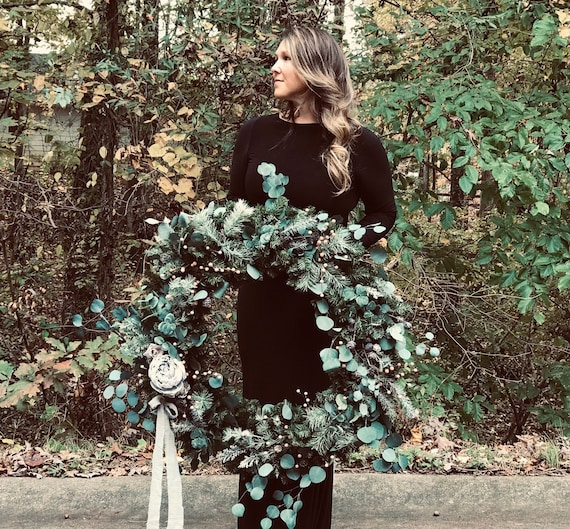 Christmas Wreath, Eucalyptus Wreath, Large Christmas Wreath, Holiday Wreath, Winter Wreath, Floral Wreath, Holiday Event Decor, Backdrop by Etsy