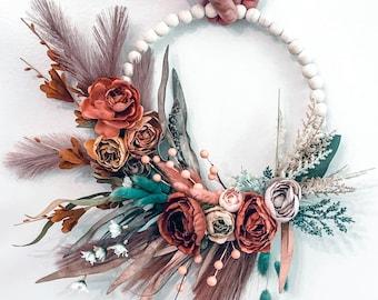 Flower Hoop, Floral Hoop, Wall Hanging, Bridesmaid Hoop, Floral Wall Hanging, Nursery Floral Art, Foyer Wall Art, Hoop Bouquet