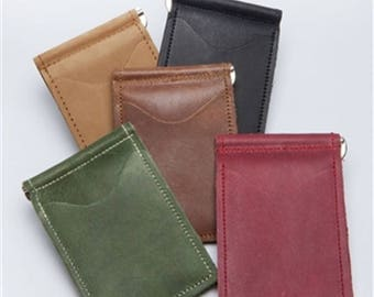 Personalized Full Grain Leather Back Saver Wallet