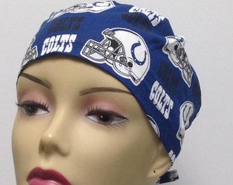 Women s scrub hats. Chemo cap. Nurses scrub caps. Cancer hats and wraps.  Colts hats. NFL hats. Unisex hats. 100% cotton. Size S-M M-L c42f778a9800
