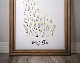 Fingerprint tree, custom handmade, rustic wedding book alternative, unique thumbprint, L Harry Potter Candles 115-300 guests // + 3 ink pads