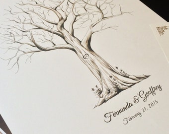 Fingerprint tree, custom handmade, rustic wedding guest book alternative, unique thumbprint, Medium Monochrome 55-155 guests // + 2 ink pads