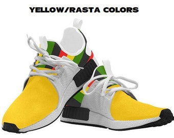 Combo Color Curved Running Shoes, Yellow sneakers, Women Afrocentric Running Shoes, Unisex Afrocentric Running Shoes, unique athletic shoes