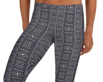 Gray Mudcloth Leggings, Gray & White women leggings, ankle length, Afrocentric leggings, workout gear, athleisure, tights, leggings