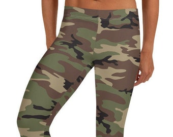 Green Camouflage Leggings, Women's Leggings, Camo Print Leggings, Workout Gear for Women, Camo Yoga Leggings, Ankle Length, Camouflage