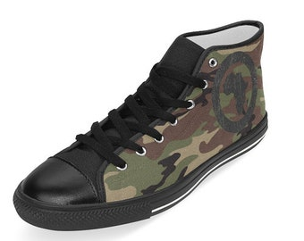 Camouflage Sneakers, Unisex sneakers, Unisex Camouflage Athletic Shoes, Men & Women Sneakers, Unique athletic shoes, unique Hi-Top Sneakers