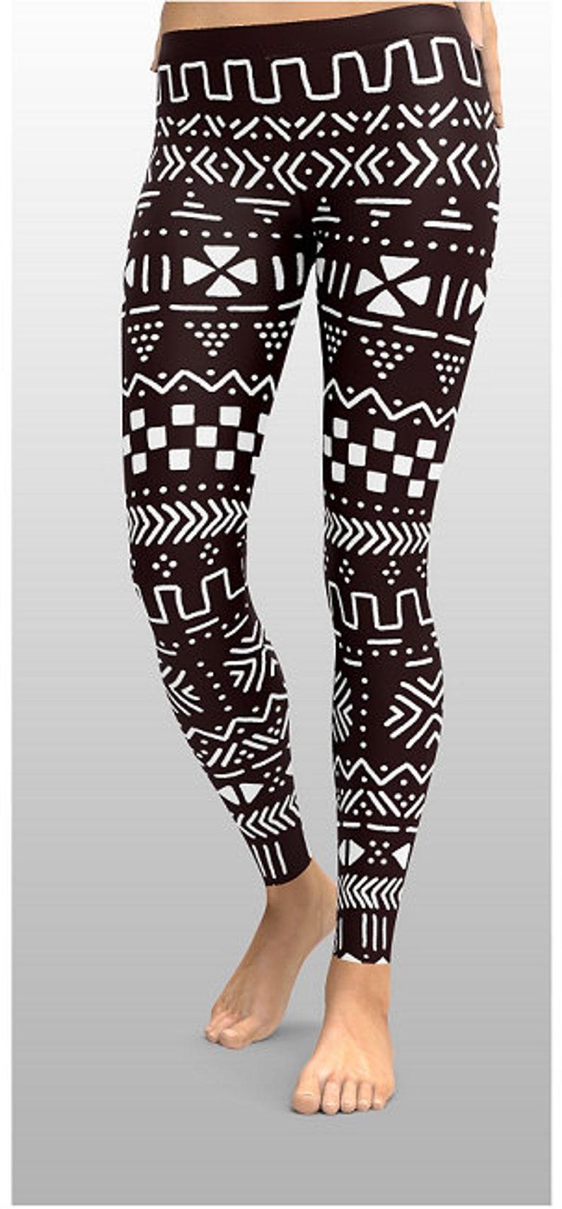 1a6999e61c268 Black And White Leggings Tribal Leggings Unique Leggings   Etsy