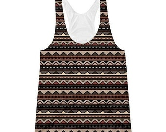 15%OFF Tribal Print-Racerback Tank-brown-black-womens-African-afrocentric-clothing-tank tops-racer back-yoga-work out tops-tops and tanks-at