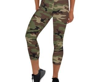 Green Camo Capri Leggings, Green Camouflage, Women Leggings, Camo Print, Women Workout Gear, Camo Yoga Leggings, Capri Length, Camouflage