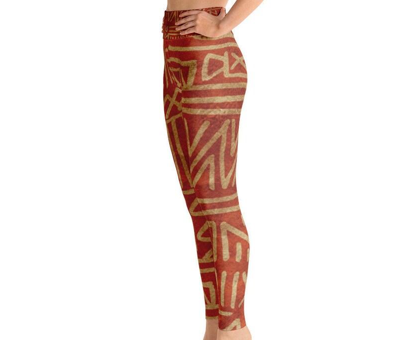 49b5a5f1a3ba7 Rust & Tan Yoga Full-Length Leggings African Tribal Print   Etsy