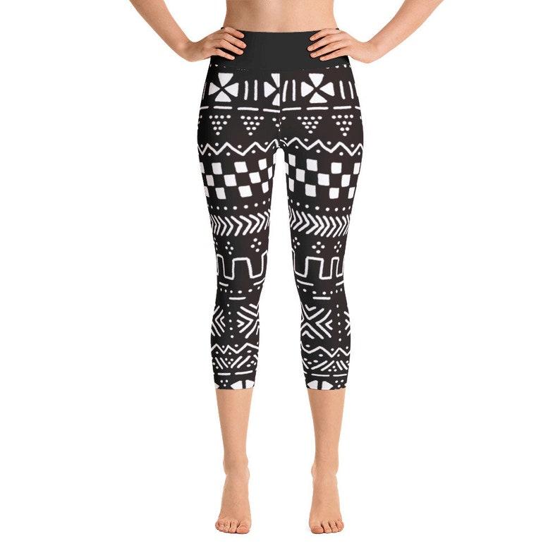7f1b68ba8800 Black-Mudcloth-Yoga Capri   Etsy