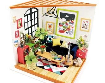 1: 24 Miniature Dollhouse DIY Kit Locus's Sitting Room with Light Handcraft Project Music Living Room Model Gift Home Decor Scene Robotime