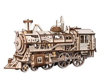 3D Wooden Puzzle Moving Clockwork Automata DIY Kit Robot Locomotive Gift Home Decor Craft Project Toy Pre-cut Vehicle Model Robotime