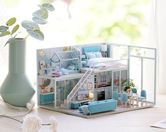 1: 24 DIY Miniature Dollhouse Kit Scenery Proetic Life Loft Apartment Craft in a Box Blue House with Light Music Box Adult Craft Gift Decor