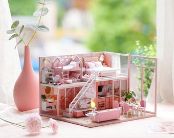 1: 24 DIY Miniature Dollhouse Kit Scenery Meeting Your Sweet Loft Apartment Craft in a Box Pink House with Light Music Box Gift Home Decor