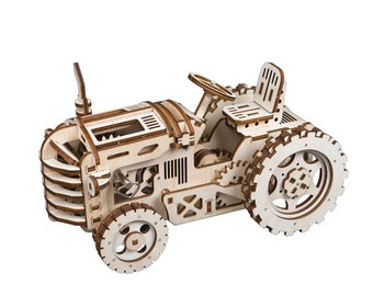 3D Wooden Puzzle Moving Clockwork Automata DIY Kit Robot Mechanical Tractor Gift Home Decor Craft Project Toy Pre-cut Vehicle Model Robotime