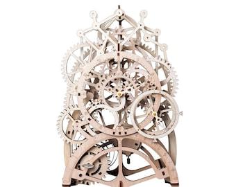 3D Wooden Puzzle Moving Clockwork Automata DIY Kit Robot Pendulum Clock Gift Home Decor Craft Project Toy Pre-cut Vehicle Model Robotime