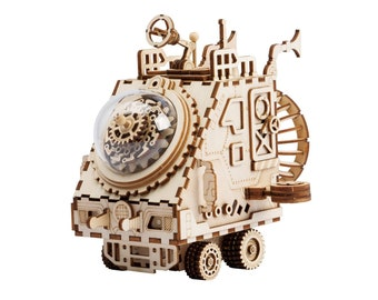 Laser Cut 3D Wooden Puzzle Hand Crank Music Box DIY Kit Robot Space Vehicle Steampunk Style Gift Home Decor Craft Project Toy Robotime