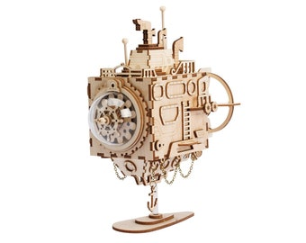 Laser Cut 3D Wooden Puzzle Hand Crank Music Box DIY Kit Robot Submarine Steampunk Style Gift Home Decor Craft Project Toy Model Robotime
