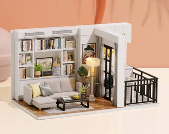 1:32 DIY Miniature Dollhouse Kit Scenery Genki Life Living Room Craft in a Box Room with Light Adult Craft Model Making Gift Decor