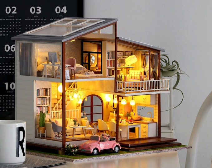 Featured listing image: 1: 24 DIY Miniature Dollhouse Kit Slow Time Two Storey House Cute Room with Light and Music Box Craft in a Box Gift Home Decor Craft Project