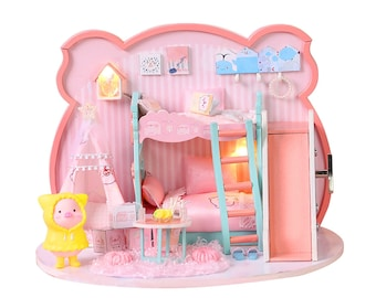 1: 24 DIY Miniature Dollhouse Kit Cartoon Piggy Girl Theme Pink Bedroom with Light and Music Box Model Making Craft Supply Gift for Girl
