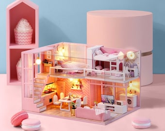 1: 24 DIY Miniature Dollhouse Kit Scenery Dream Angels Loft Apartment Craft in a Box Pink House with Light Music Box Adult Craft Gift Decor