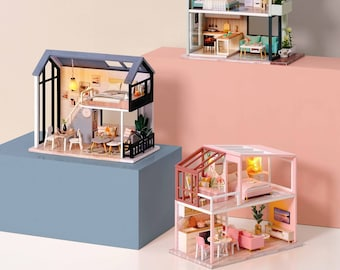 DIY Miniature Dollhouse Kit Scenery The Nordic Apartment Craft in a Box Mordern Loft w/ Light Pink Blue Adult Craft Model Making Gift Decor