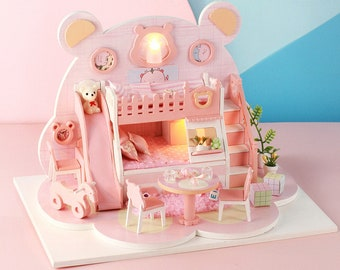 1: 24 DIY Miniature Dollhouse Kit Cartoon Bear Theme Pink Bedroom Bear Dreamworks with Light and Music Box Model Making Craft Supply Gift