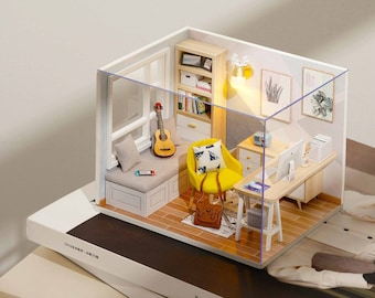1:32 DIY Miniature Dollhouse Kit Scenery Sunshine Study Room Craft in a Box Room with Light Music Box Adult Craft Model Making Gift Decor