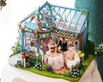 1: 24 DIY Miniature Dollhouse Kit Rose Garden Tea House Sun house Floral Glass Garden Turquoise Cute Room with Light and Music Box Craft
