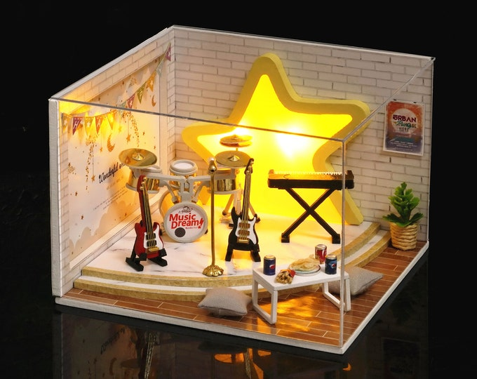 Featured listing image: 1:32 DIY Miniature Dollhouse Kit Scenery Dream Catcher Music Band on Stage with Light Craft in a Box Adult Craft Model Making Gift Decor
