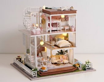 1: 24 DIY Miniature Dollhouse Kit My Life is So Well Three Storey House w/ Light and Music Box Craft in a Box Gift Home Decor Craft Project