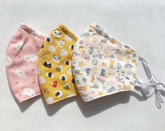Handmade Washable Reusable Face Mask Linen Face Covering Kid Teen Cute Cartoon Bunny Kitten Panda 100% Cotton White Pink | Ship From Toronto