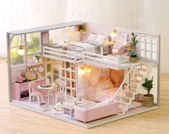 1: 24 DIY Miniature Dollhouse Kit Scenery Girlish Dream Loft Apartment Craft in a Box Pink House with Light Music Box Adult Craft Gift Decor