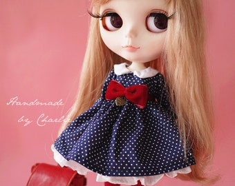 Handmade by Charlie | Retro Style Polka Dot Dress Blue One Piece Dress Long Sleeves for Blythe Pullip Dal Jerry Berry YOSD 1/6 Doll Clothes
