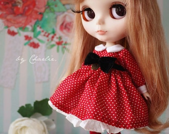 Handmade by Charlie | Retro Style Polka Dot Dress Red One Piece Dress Long Sleeves for Blythe Pullip Dal Jerry Berry YOSD 1/6 Doll Clothes