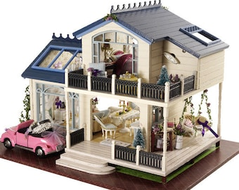 Miniature Dollhouse DIY Kit House in Provence with Light and Music Box Cute Room House Model