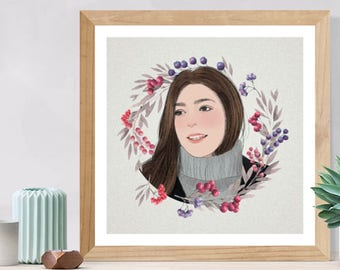 Printable Custom Portrait Illustration,  Personalized Portrait, Portrait Drawing, Custom Birthday Present, Digital Portrait - Individual