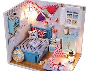 1:24 Miniature Dollhouse Room DIY Kit Romantic Summer Bedroom with Light HD House Model Building Kit