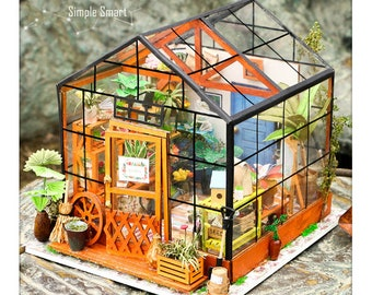 1: 24 Miniature Dollhouse DIY Kit Cathy's Flower House with Light Handcraft Project Florist Shop Greenhouse Model Gift Home Decor Robotime