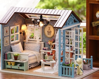 1: 24 DIY Miniature Dollhouse Kit Forest Times Shabby Chic Cottage Cabin House with Light and Music Box Model Making Craft Supply